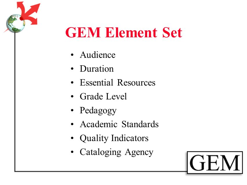GEM Element Set 23 Elements 15 Dublin Core 8 GEM Elements