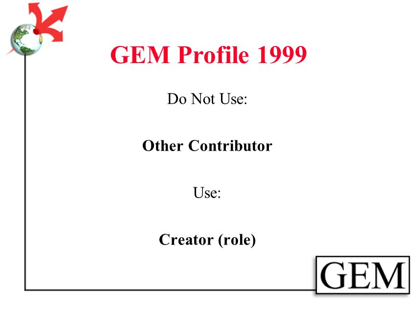 GEM Profile 1999 Consists of: 8 GEM Elements 13 Dublin Core Elements