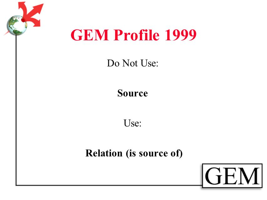 GEM Profile 1999 Do Not Use: Other Contributor Use: Creator (role)