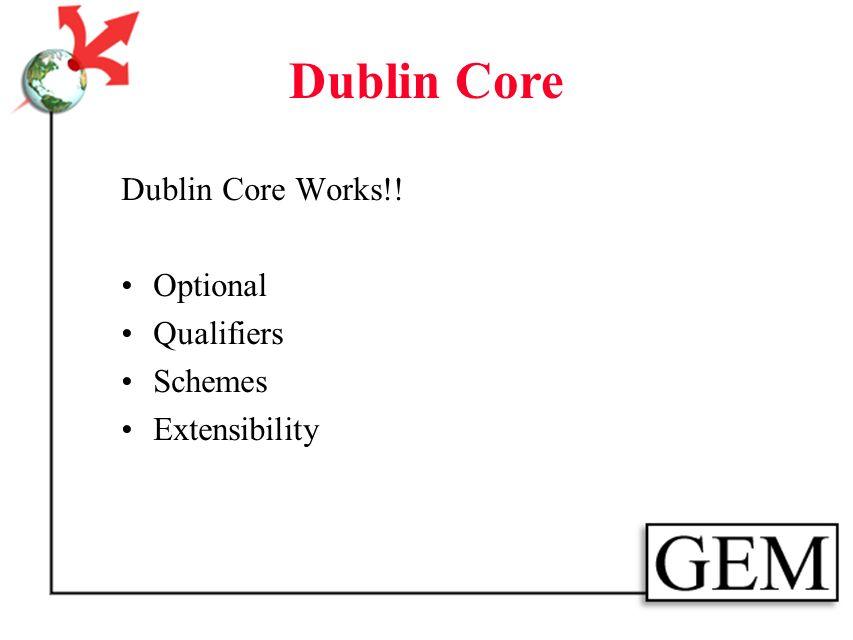 Dublin Core What would help: standardize DC simple establish/adopt/recommend core subelements schedule for standardizing subelements DC WWW site - lat