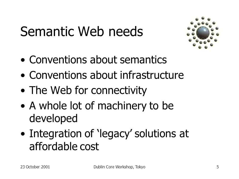 23 October 2001Dublin Core Workshop, Tokyo5 Semantic Web needs Conventions about semantics Conventions about infrastructure The Web for connectivity A whole lot of machinery to be developed Integration of legacy solutions at affordable cost