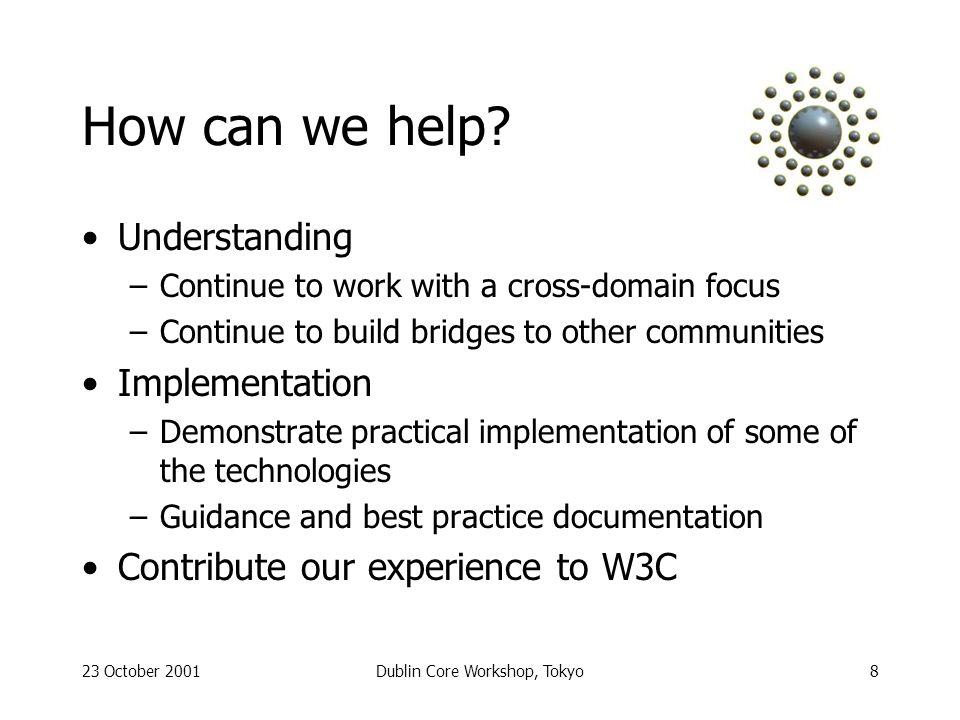 23 October 2001Dublin Core Workshop, Tokyo8 How can we help.
