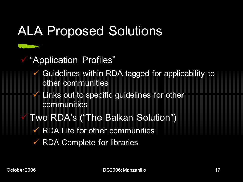 October 2006DC2006: Manzanillo17 ALA Proposed Solutions Application Profiles Guidelines within RDA tagged for applicability to other communities Links