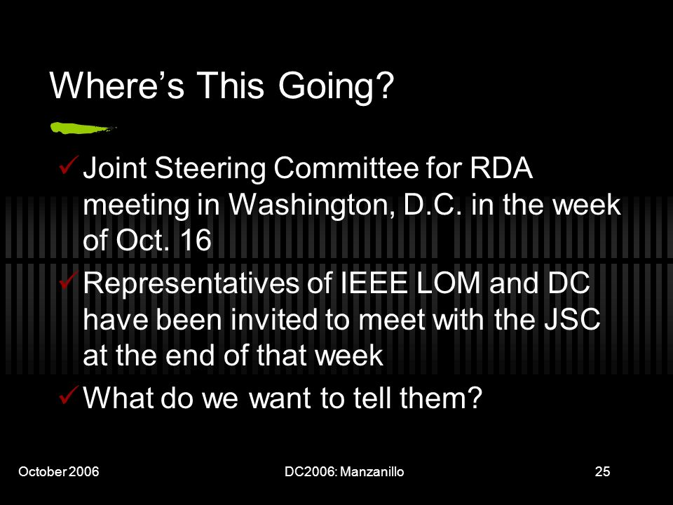 October 2006DC2006: Manzanillo25 Wheres This Going? Joint Steering Committee for RDA meeting in Washington, D.C. in the week of Oct. 16 Representative