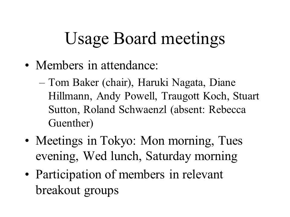 Usage Board meetings Members in attendance: –Tom Baker (chair), Haruki Nagata, Diane Hillmann, Andy Powell, Traugott Koch, Stuart Sutton, Roland Schwa