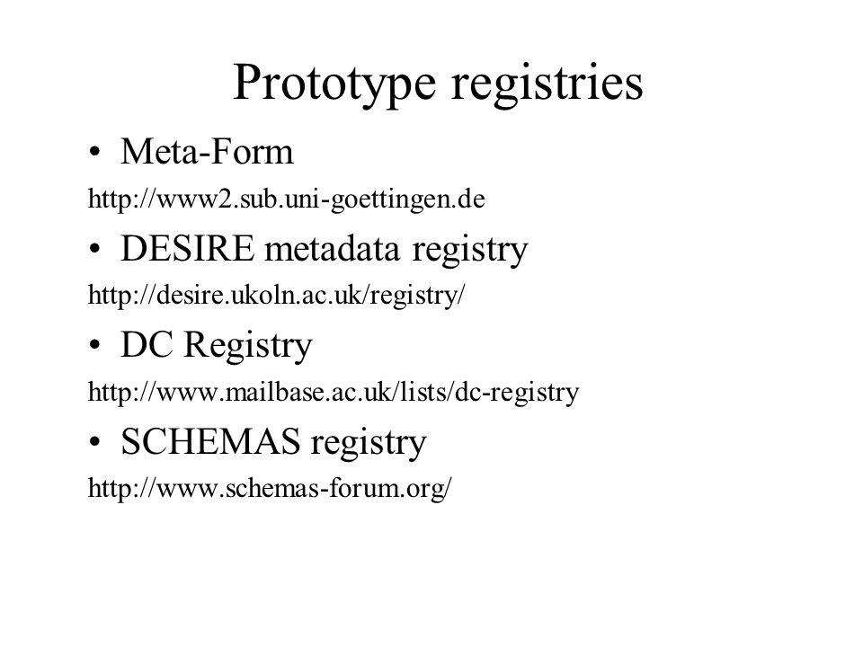 Prototype registries Meta-Form http://www2.sub.uni-goettingen.de DESIRE metadata registry http://desire.ukoln.ac.uk/registry/ DC Registry http://www.m