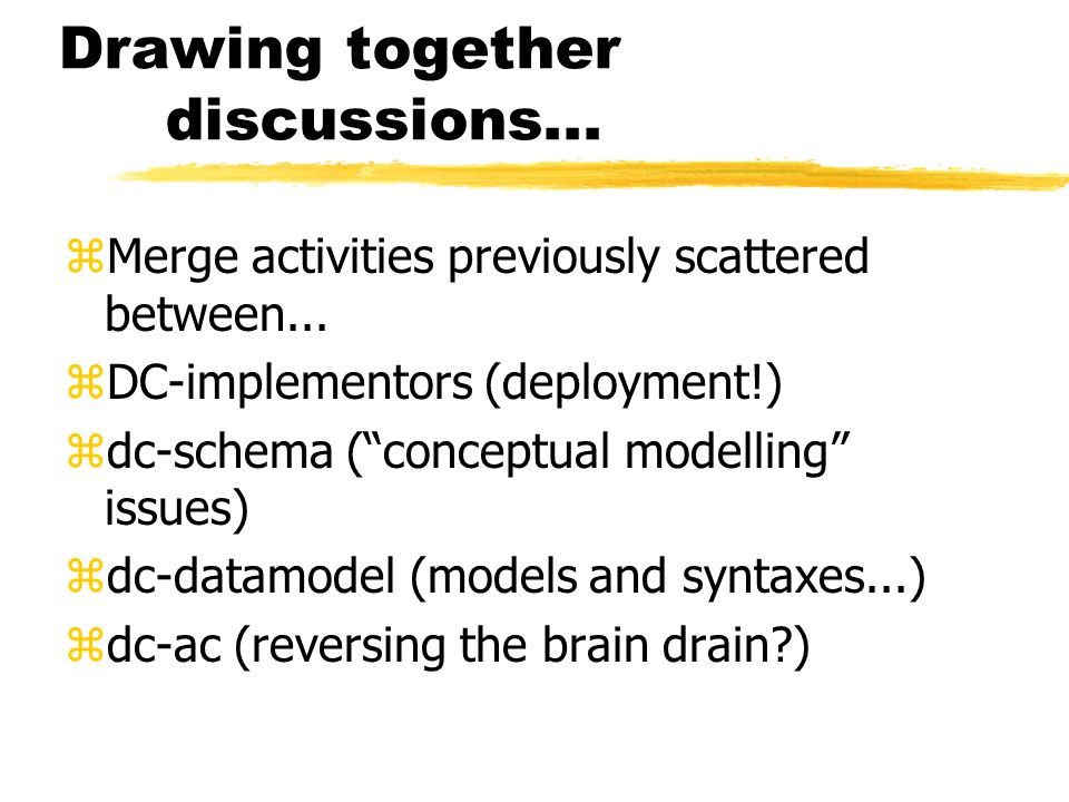 Drawing together discussions... zMerge activities previously scattered between... zDC-implementors (deployment!) zdc-schema (conceptual modelling issu