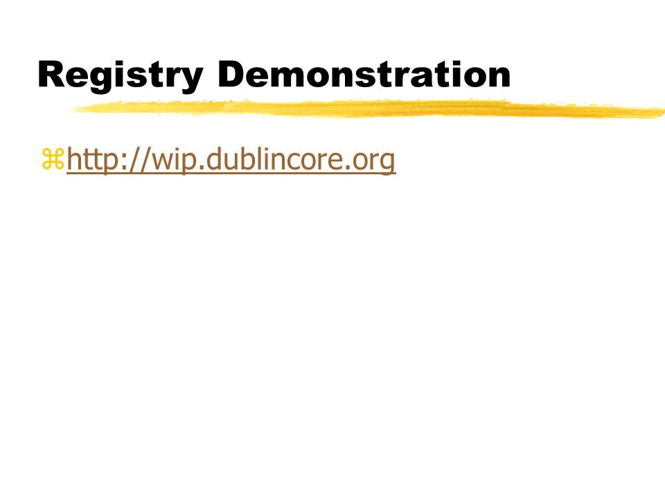 Registry Demonstration zhttp://wip.dublincore.orghttp://wip.dublincore.org