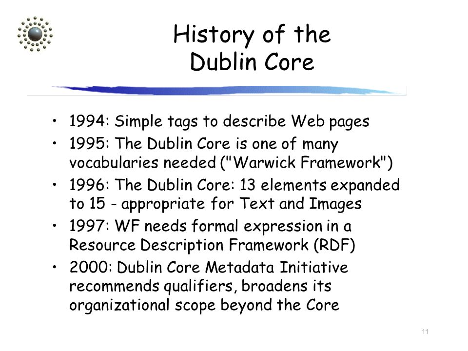 11 History of the Dublin Core 1994: Simple tags to describe Web pages 1995: The Dublin Core is one of many vocabularies needed (
