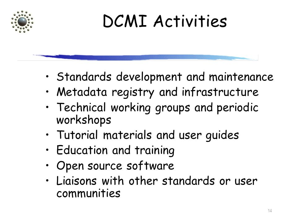 14 DCMI Activities Standards development and maintenance Metadata registry and infrastructure Technical working groups and periodic workshops Tutorial