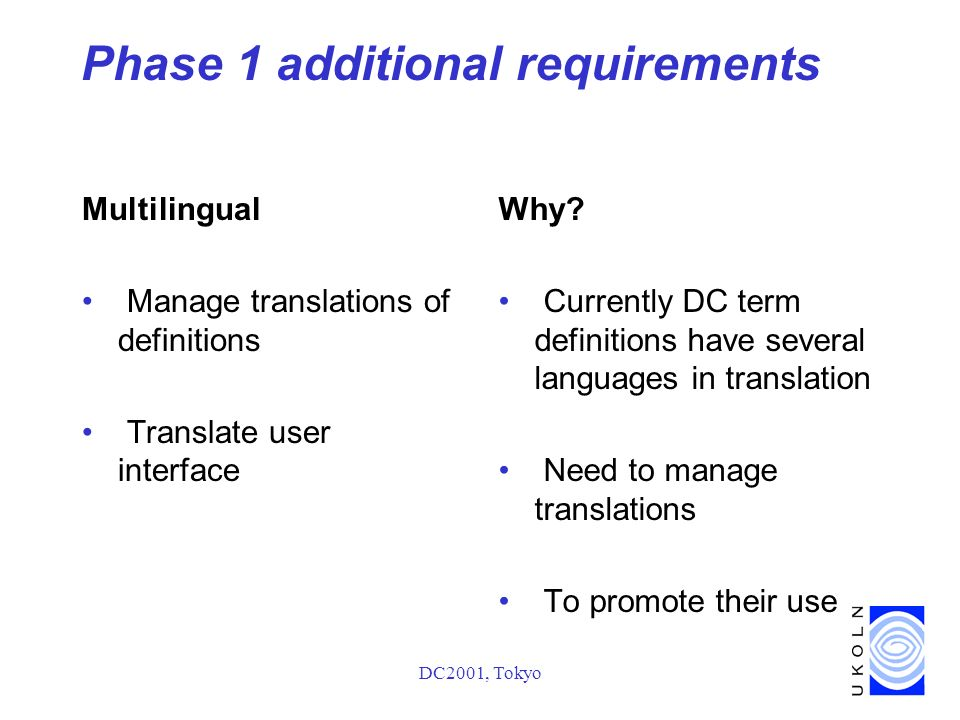 DC2001, Tokyo Phase 1 additional requirements Multilingual Manage translations of definitions Translate user interface Why.