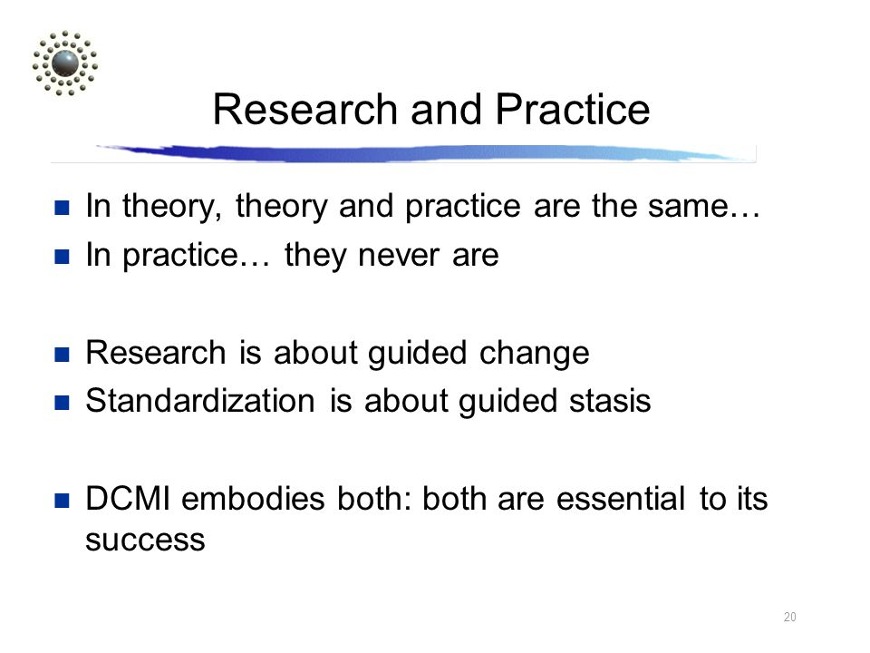 20 Research and Practice In theory, theory and practice are the same… In practice… they never are Research is about guided change Standardization is about guided stasis DCMI embodies both: both are essential to its success