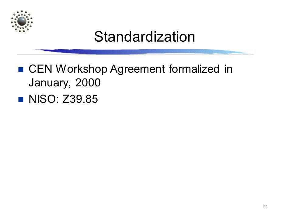 22 Standardization CEN Workshop Agreement formalized in January, 2000 NISO: Z39.85
