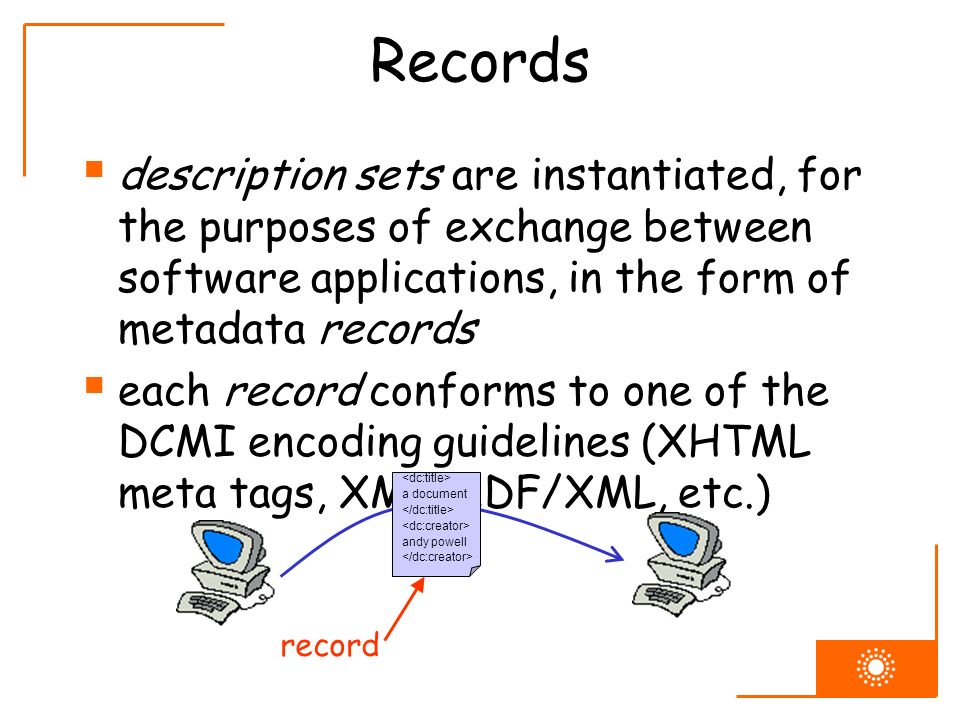 Records description sets are instantiated, for the purposes of exchange between software applications, in the form of metadata records each record con