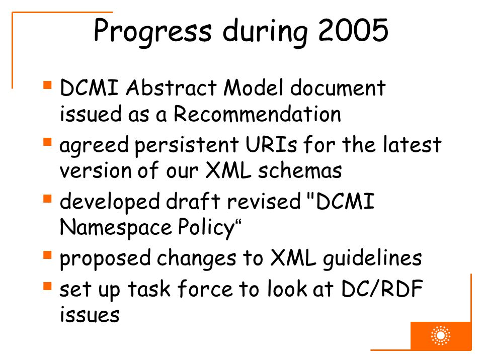 Progress during 2005 DCMI Abstract Model document issued as a Recommendation agreed persistent URIs for the latest version of our XML schemas develope