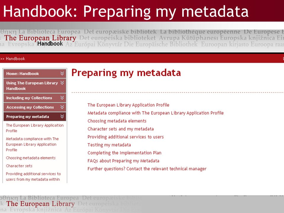 Handbook: Preparing my metadata
