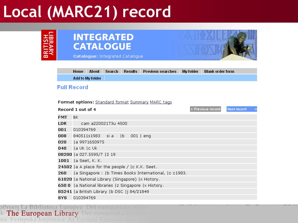 Local (MARC21) record