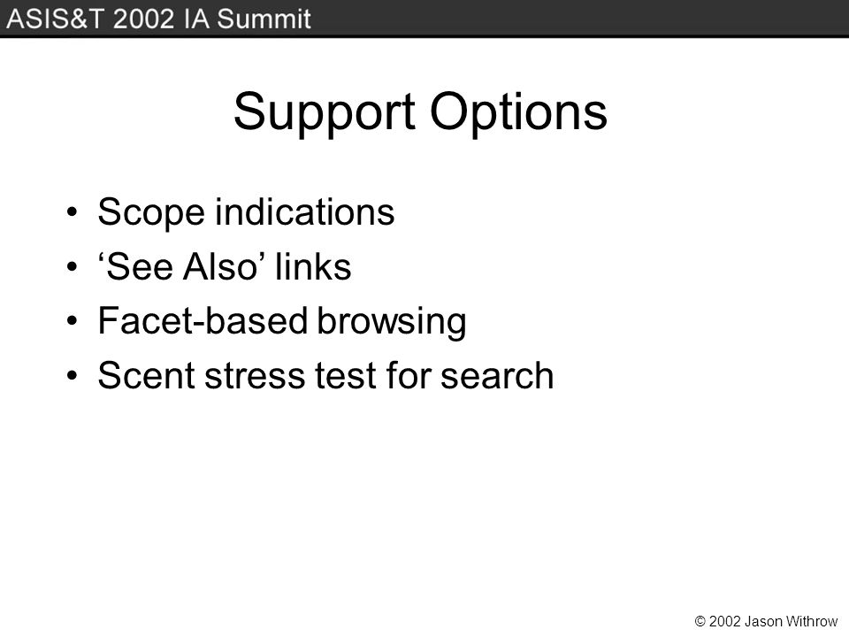 © 2002 Jason Withrow Support Options Scope indications See Also links Facet-based browsing Scent stress test for search