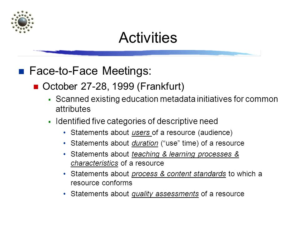 Activities Face-to-Face Meetings: October 27-28, 1999 (Frankfurt) Scanned existing education metadata initiatives for common attributes Identified five categories of descriptive need Statements about users of a resource (audience) Statements about duration (use time) of a resource Statements about teaching & learning processes & characteristics of a resource Statements about process & content standards to which a resource conforms Statements about quality assessments of a resource