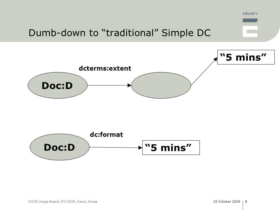 16 October 2009DCMI Usage Board, DC-2009, Seoul, Korea8 Doc:D 5 mins dcterms:extent Doc:D 5 mins dc:format Dumb-down to traditional Simple DC