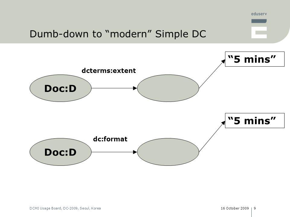 16 October 2009DCMI Usage Board, DC-2009, Seoul, Korea9 Doc:D 5 mins dcterms:extent Doc:D dc:format Dumb-down to modern Simple DC 5 mins