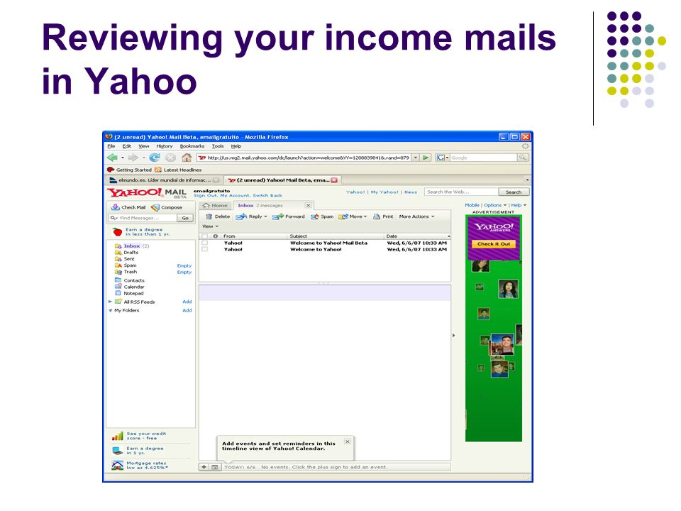 Reviewing your income mails in Yahoo