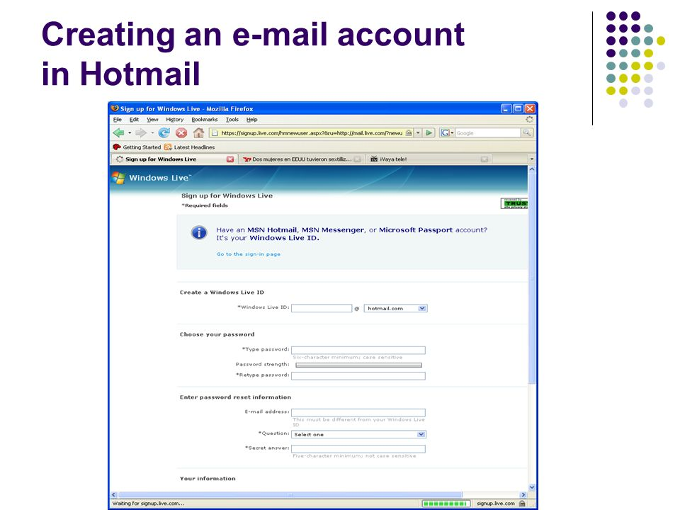 Creating an e-mail account in Hotmail