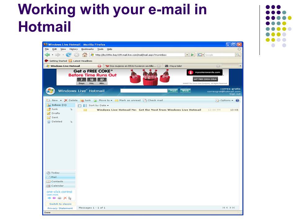 Working with your e-mail in Hotmail