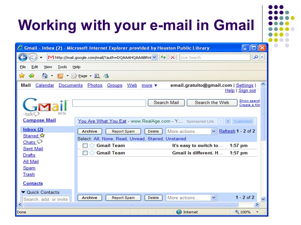 Working with your e-mail in Gmail