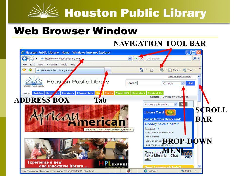 Web Browser Window SCROLL BAR NAVIGATION TOOL BAR DROP-DOWN MENU ADDRESS BOXTab