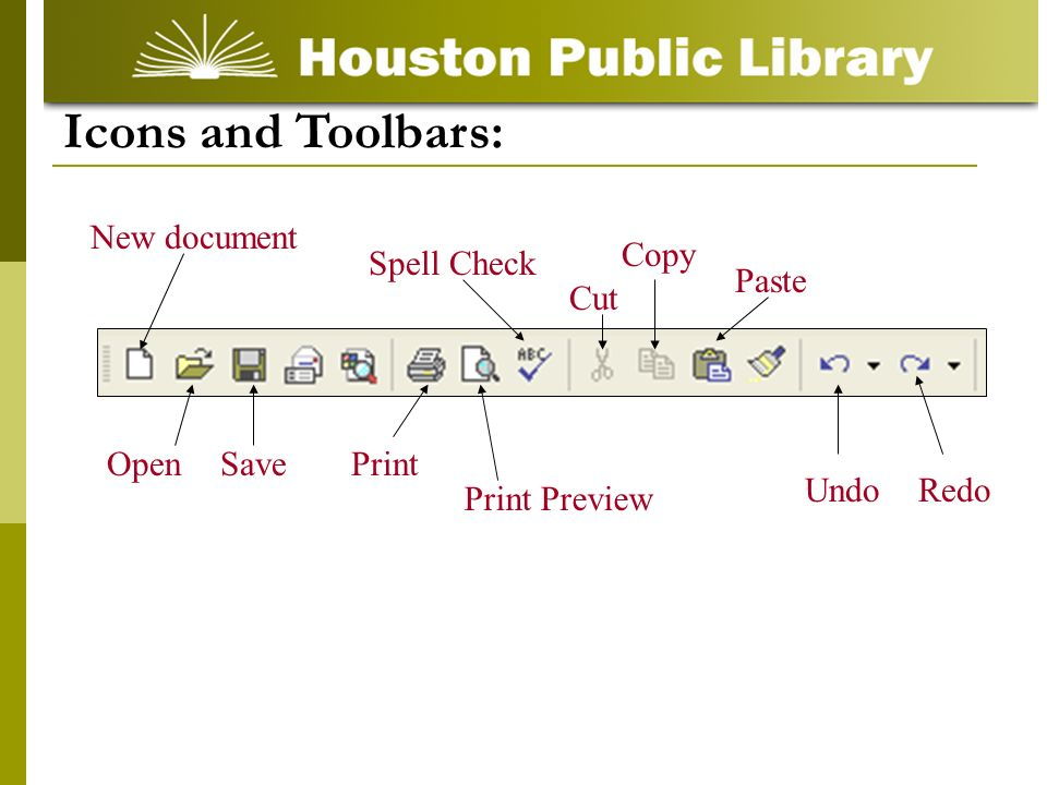 RedoUndo Spell Check Cut Copy Paste Icons and Toolbars: Print Preview PrintSave New document Open