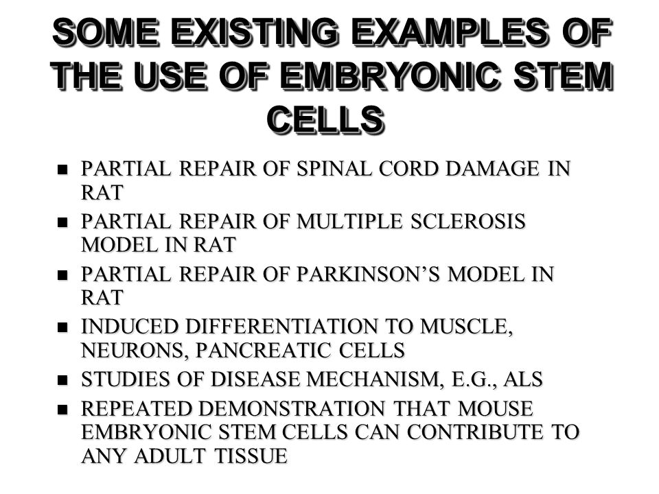 SOME EXISTING EXAMPLES OF THE USE OF EMBRYONIC STEM CELLS PARTIAL REPAIR OF SPINAL CORD DAMAGE IN RAT PARTIAL REPAIR OF SPINAL CORD DAMAGE IN RAT PARTIAL REPAIR OF MULTIPLE SCLEROSIS MODEL IN RAT PARTIAL REPAIR OF MULTIPLE SCLEROSIS MODEL IN RAT PARTIAL REPAIR OF PARKINSONS MODEL IN RAT PARTIAL REPAIR OF PARKINSONS MODEL IN RAT INDUCED DIFFERENTIATION TO MUSCLE, NEURONS, PANCREATIC CELLS INDUCED DIFFERENTIATION TO MUSCLE, NEURONS, PANCREATIC CELLS STUDIES OF DISEASE MECHANISM, E.G., ALS STUDIES OF DISEASE MECHANISM, E.G., ALS REPEATED DEMONSTRATION THAT MOUSE EMBRYONIC STEM CELLS CAN CONTRIBUTE TO ANY ADULT TISSUE REPEATED DEMONSTRATION THAT MOUSE EMBRYONIC STEM CELLS CAN CONTRIBUTE TO ANY ADULT TISSUE
