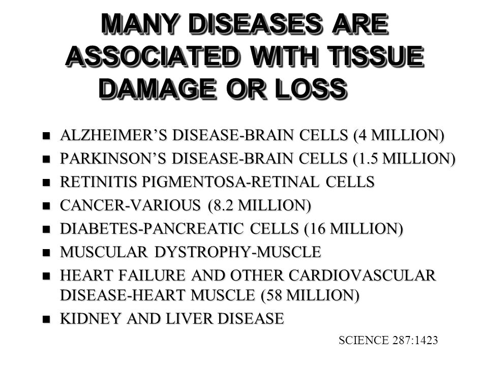 MANY DISEASES ARE ASSOCIATED WITH TISSUE DAMAGE OR LOSS ALZHEIMERS DISEASE-BRAIN CELLS (4 MILLION) ALZHEIMERS DISEASE-BRAIN CELLS (4 MILLION) PARKINSONS DISEASE-BRAIN CELLS (1.5 MILLION) PARKINSONS DISEASE-BRAIN CELLS (1.5 MILLION) RETINITIS PIGMENTOSA-RETINAL CELLS RETINITIS PIGMENTOSA-RETINAL CELLS CANCER-VARIOUS (8.2 MILLION) CANCER-VARIOUS (8.2 MILLION) DIABETES-PANCREATIC CELLS (16 MILLION) DIABETES-PANCREATIC CELLS (16 MILLION) MUSCULAR DYSTROPHY-MUSCLE MUSCULAR DYSTROPHY-MUSCLE HEART FAILURE AND OTHER CARDIOVASCULAR DISEASE-HEART MUSCLE (58 MILLION) HEART FAILURE AND OTHER CARDIOVASCULAR DISEASE-HEART MUSCLE (58 MILLION) KIDNEY AND LIVER DISEASE KIDNEY AND LIVER DISEASE SCIENCE 287:1423