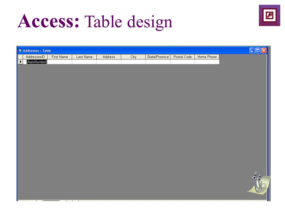 Access: Table design