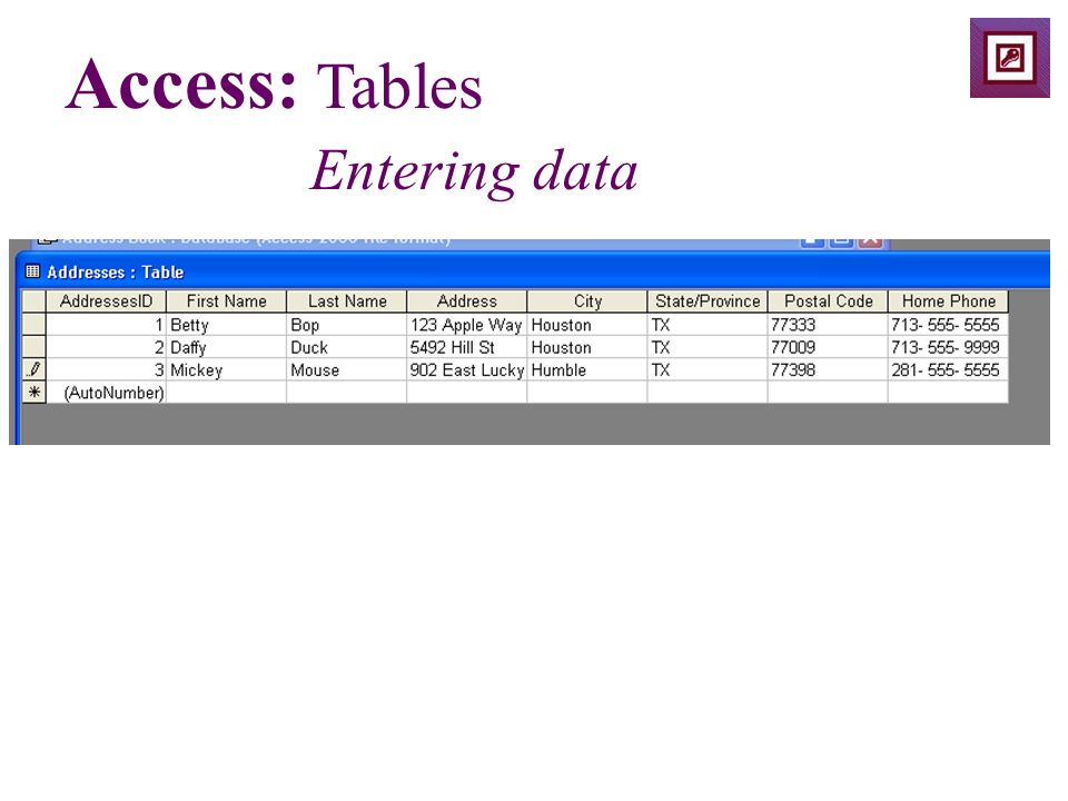 Access: Tables Entering data