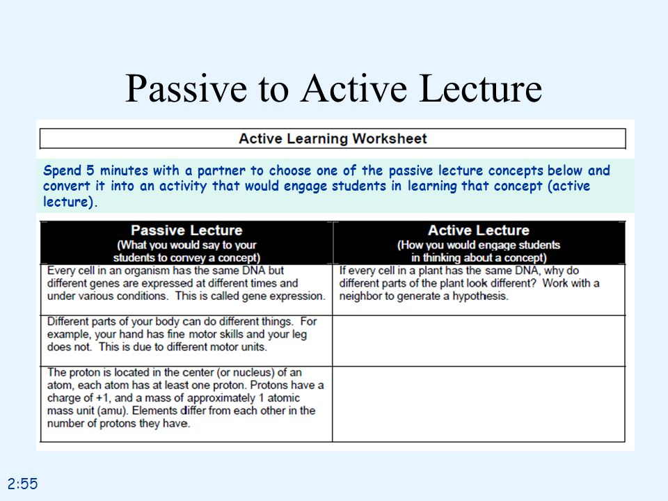 Passive to Active Lecture Spend 5 minutes with a partner to choose one of the passive lecture concepts below and convert it into an activity that woul