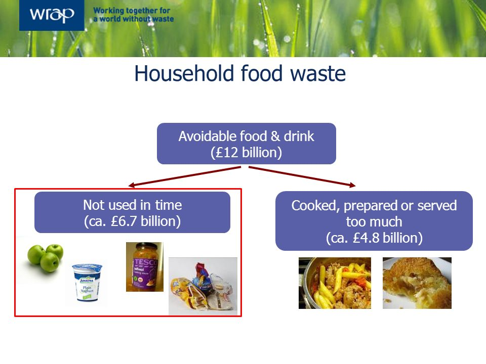 Avoidable food & drink (£12 billion) Cooked, prepared or served too much (ca. £4.8 billion) Not used in time (ca. £6.7 billion) Household food waste