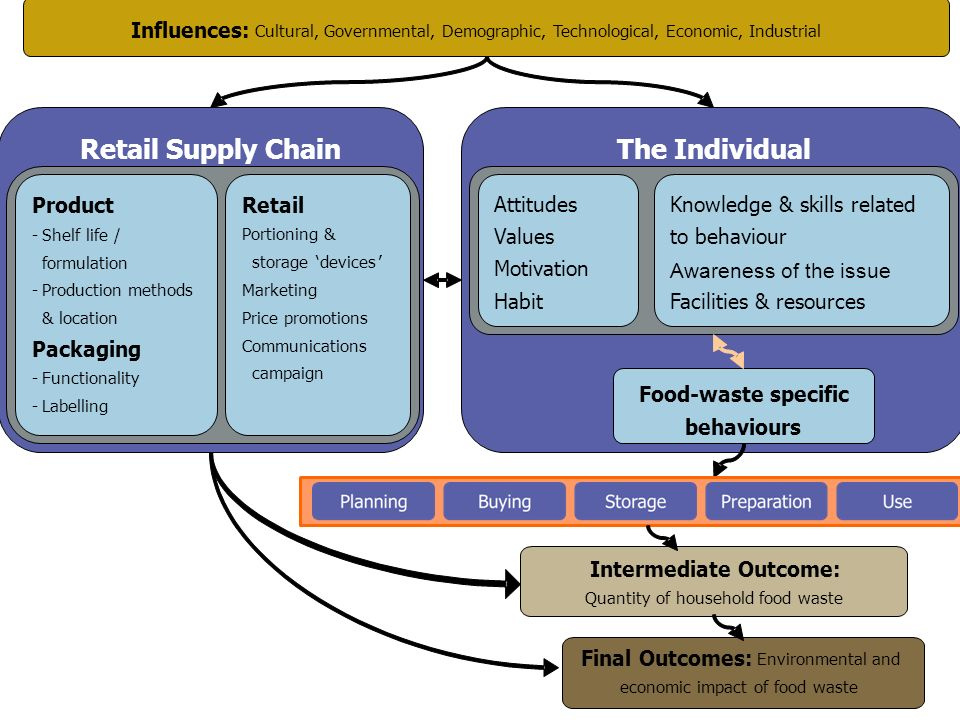 The Individual Food-waste specific behaviours Intermediate Outcome: Quantity of household food waste Final Outcomes: Environmental and economic impact