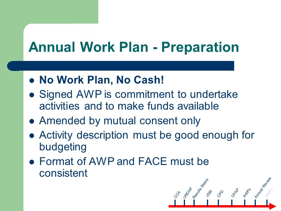 Annual Work Plan - Preparation No Work Plan, No Cash.