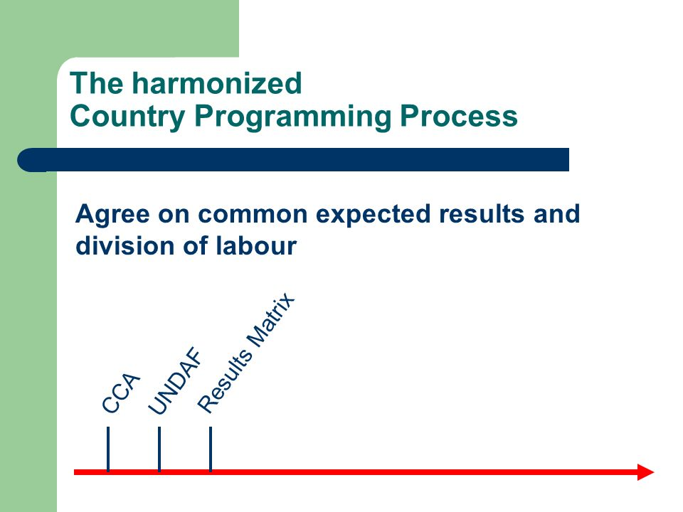 The harmonized Country Programming Process CCA UNDAF Results Matrix Agree on common expected results and division of labour
