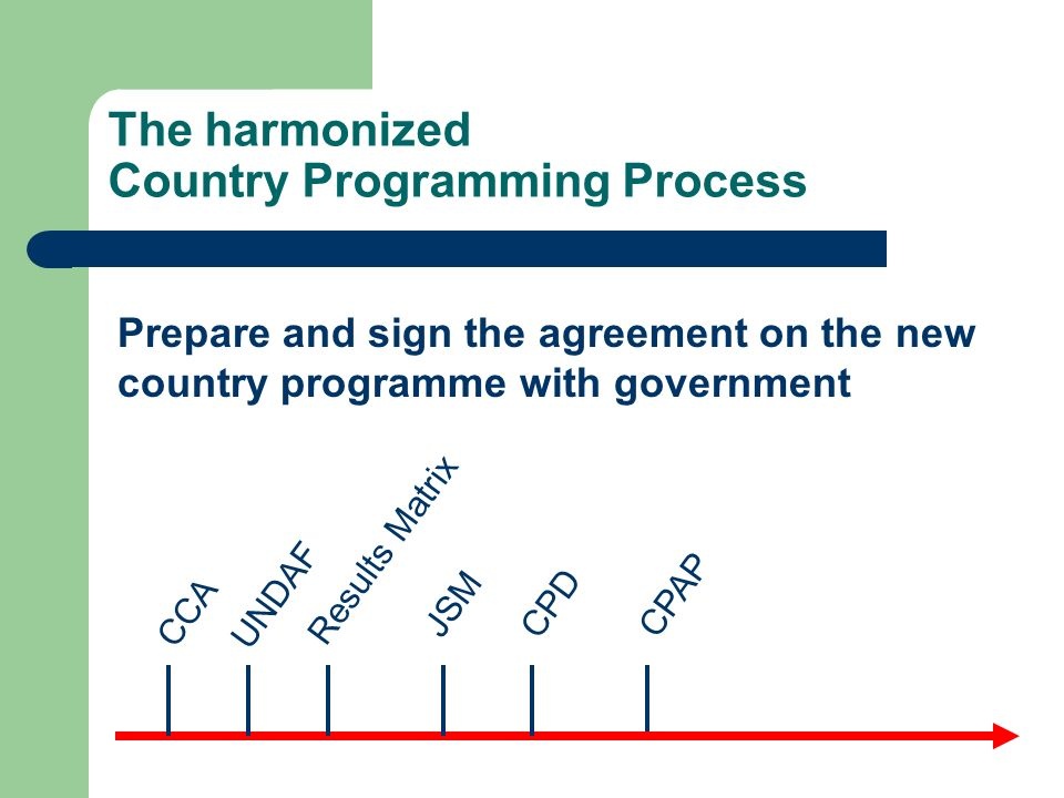 The harmonized Country Programming Process CPAP CCA UNDAF Results Matrix JSMCPD Prepare and sign the agreement on the new country programme with gover