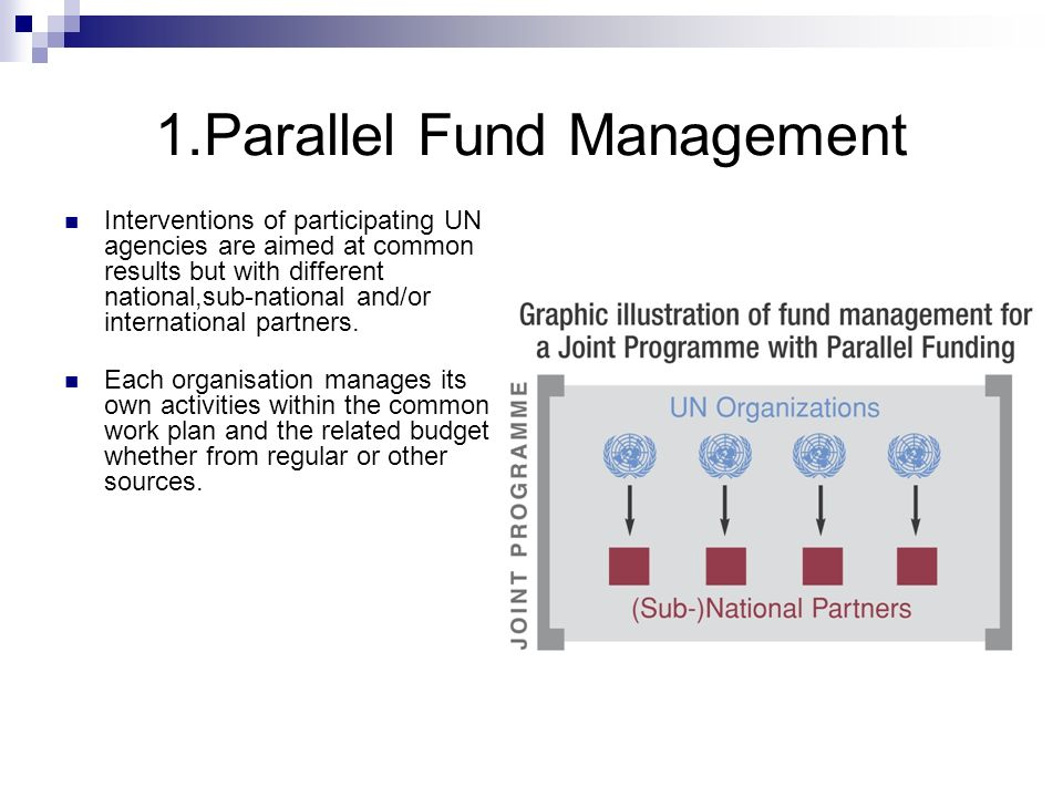 1.Parallel Fund Management Interventions of participating UN agencies are aimed at common results but with different national,sub-national and/or inte