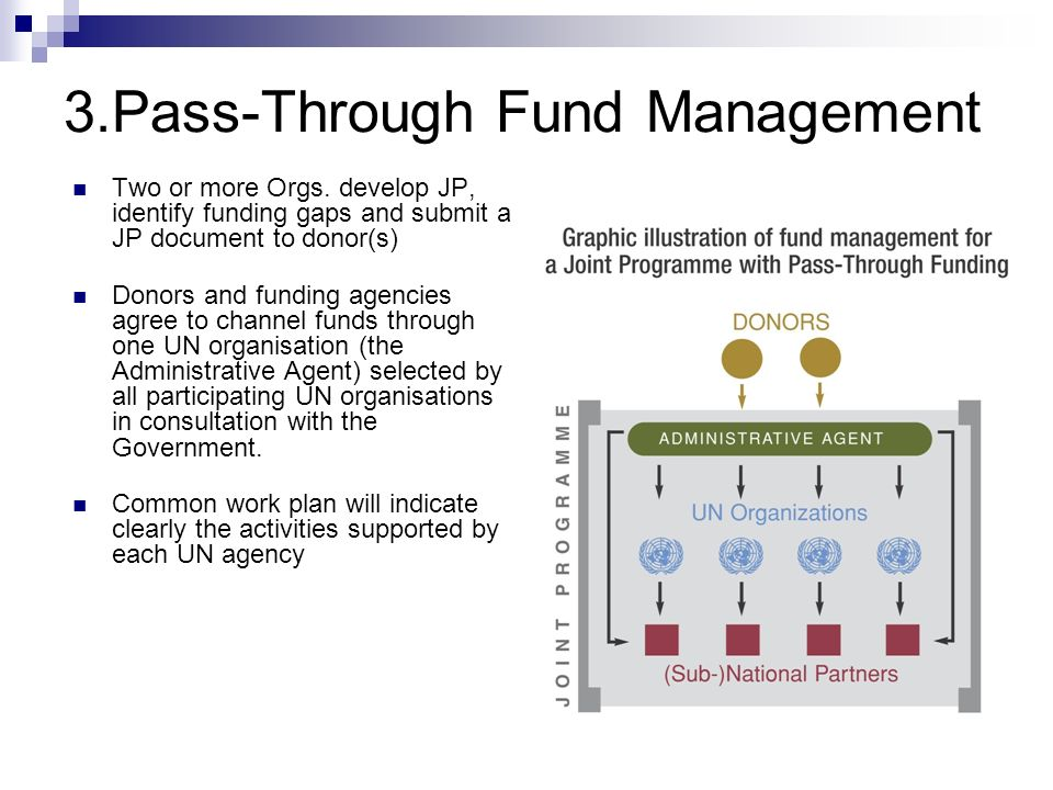 3.Pass-Through Fund Management Two or more Orgs. develop JP, identify funding gaps and submit a JP document to donor(s) Donors and funding agencies ag