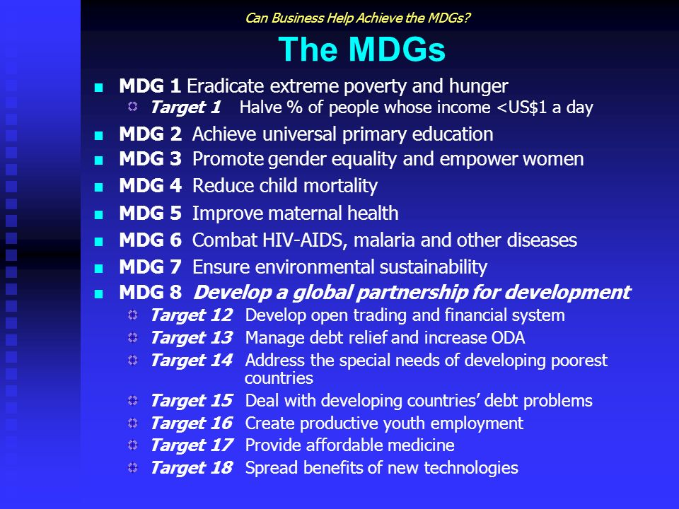 Can Business Help Achieve the MDGs.