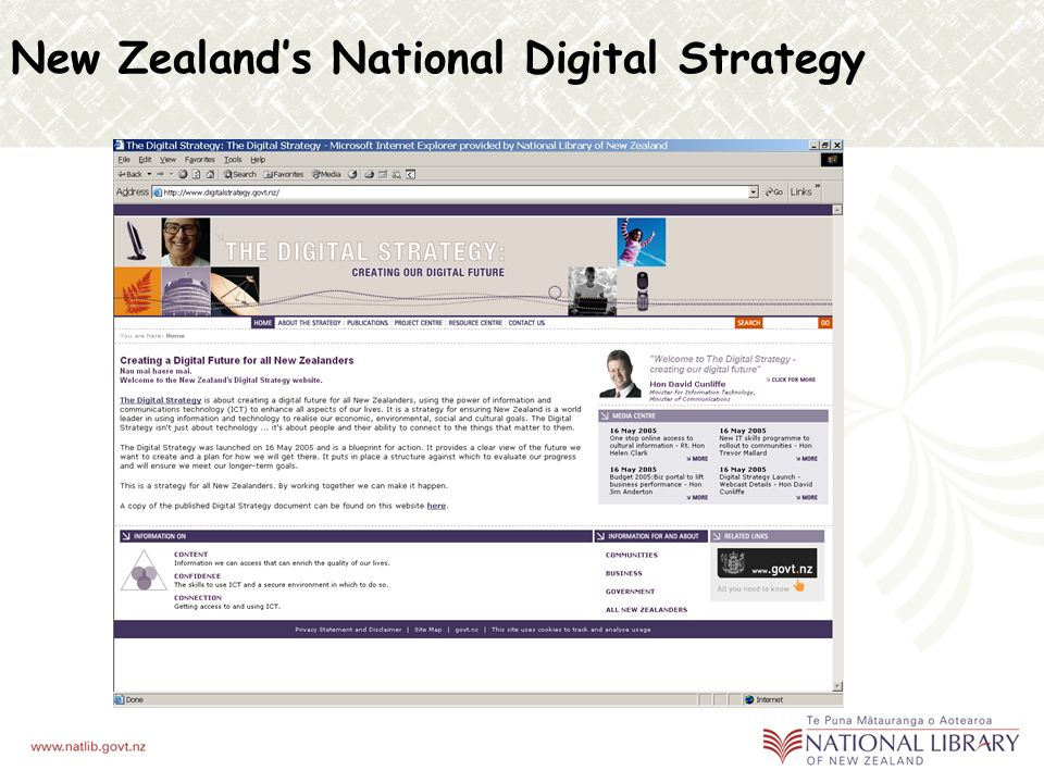 E-Government 2 representatives on the New Zealand Government Locator Service (NZGLS) Working Group maintain the New Zealand standard for the creation of discovery-level metadata in the government sector Application profile – dcterms & AGLS (Australian Government Locator Service) Education National Library delivers services to schools Contributing to the New Zealand Education Sector Architecture Framework (ESAF) Working on a project to develop a Core Education Sector Metadata Schema Monitor DC-Education Working Group National Library collaboration and interoperability in other sectors