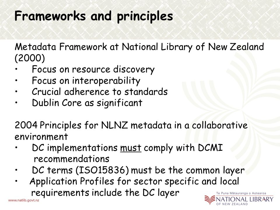 National Library of New Zealand Te Puna Mātauranga o Aoteaora Collect, maintain, and make accessible literature and information resources that relate to New Zealand and the Pacific Alexander Turnbull Library Preserve New Zealand s documentary heritage for generations to come Develop and deliver services for schools to support teaching and learning National Library Act 2003 mandates legal deposit of electronic materials