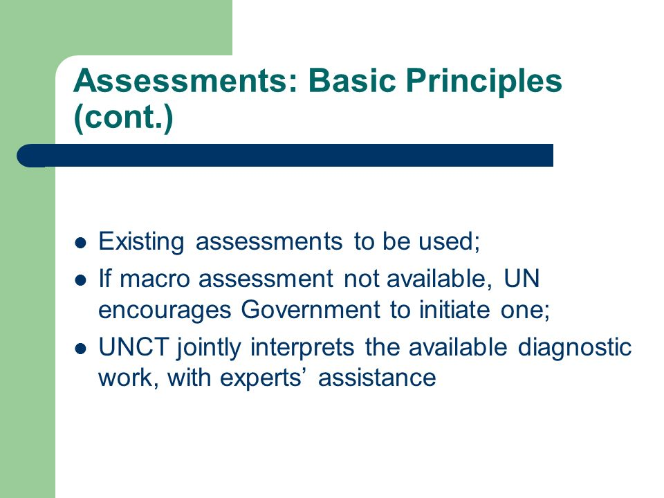 Assessments: Basic Principles (cont.) Existing assessments to be used; If macro assessment not available, UN encourages Government to initiate one; UN