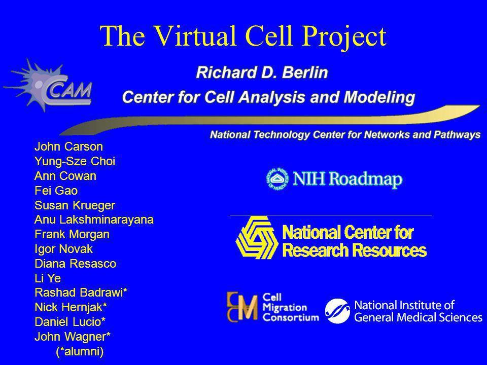 The Virtual Cell Project John Carson Yung-Sze Choi Ann Cowan Fei Gao Susan Krueger Anu Lakshminarayana Frank Morgan Igor Novak Diana Resasco Li Ye Rashad Badrawi* Nick Hernjak* Daniel Lucio* John Wagner* (*alumni)