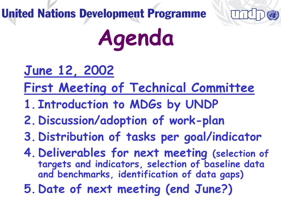 Work plan Finalization of report (Oct-Nov 2002) Finalization report text Layout and design Translation Printing Distribution National workshop(s) to discuss MDGR Establishment of mechanism for monitoring progress Presentation/launch with Advisory Group through roundtables, press encounters, interviews, etc.