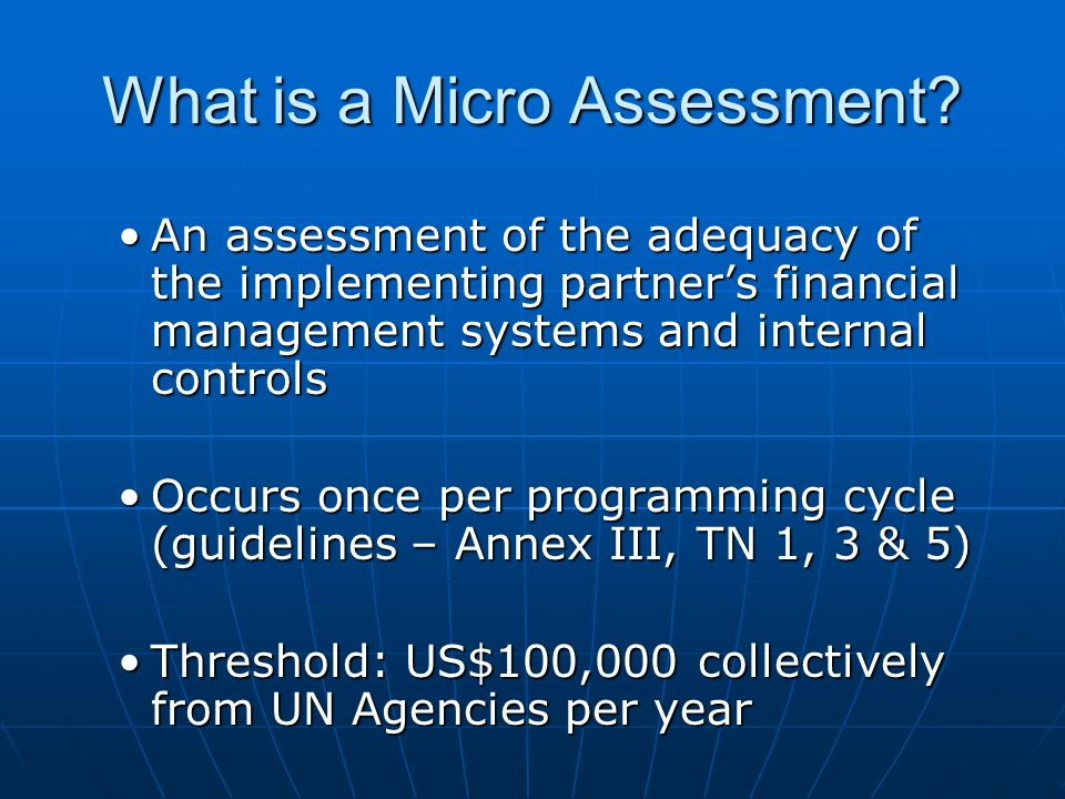 What is a Micro Assessment.